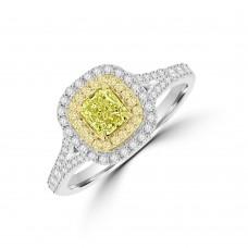 18ct White Gold Yellow Diamond Cushion Halo Cluster Ring
