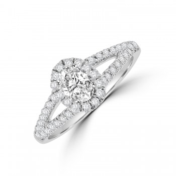 18ct White Gold Oval Diamond Solitaire Halo Ring