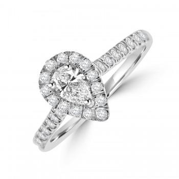 18ct White Gold Pear cut Diamond Halo Ring