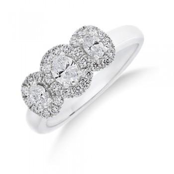 18ct White Gold Triple Diamond Halo Ring