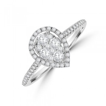 18ct White Gold .45ct Diamond Pear Halo Cluster Ring