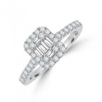 18ct White Gold Baguette Cluster .56ct Diamond Halo Ring