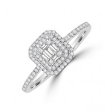 18ct White Gold Baguette .32ct Diamond Cluster Halo Ring