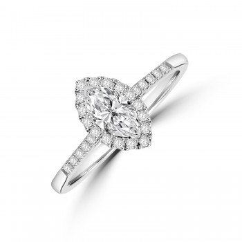 18ct White Gold Marquise .40ct Diamond Halo Ring
