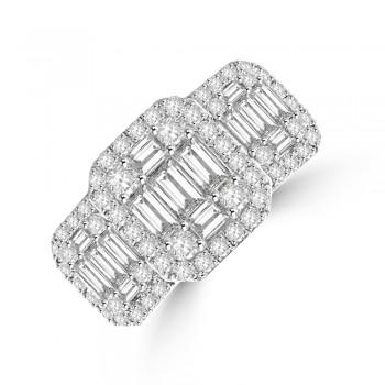 18ct White Gold Triple Baguette Diamond Cluster Ring