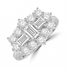 18ct White Gold 15-stone Baguette 1.94ct Diamond Cluster Ring