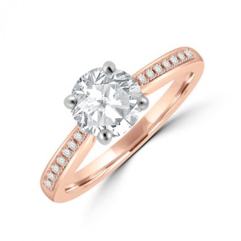 18ct Rose Gold .85ct Solitaire GSi1 Diamond Ring