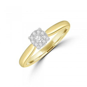 9ct Gold Illusion Solitaire Diamond Ring