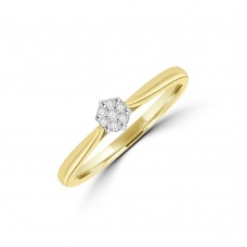 9ct Gold Diamond Solitaire Cluster Ring