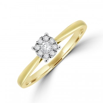 9ct Gold Diamond Solitaire-Illusion Cluster Ring