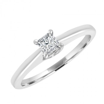 9ct White Gold Princess cut .21ct Diamond Solitaire Ring
