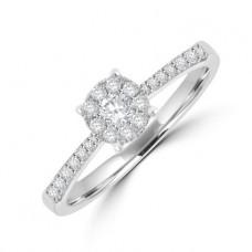 18ct White Gold Diamond Solitaire Illusion Ring