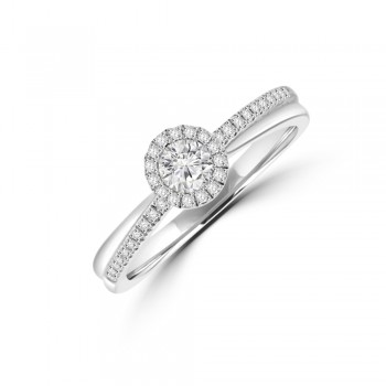 9ct White Gold Diamond Solitaire Halo Crossover ring