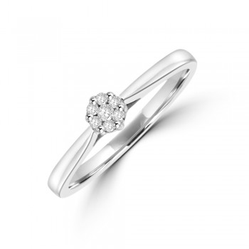 9ct White Gold Solitaire Cluster Diamond Ring