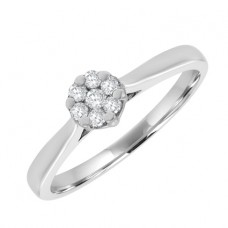 9ct White Gold Solitaire Illusion Diamond Cluster Ring