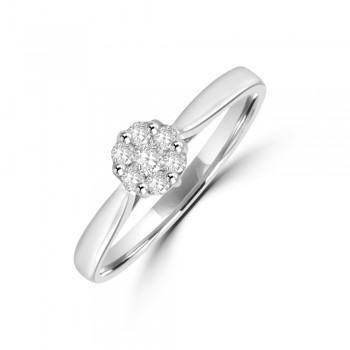 9ct White Gold Diamond Solitaire Cluster Ring
