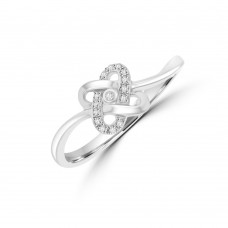 9ct White Gold Diamond Weave Ring