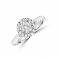 9ct White Gold Diamond Cluster Halo Ring