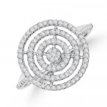 9ct White Gold Pave Diamond Concentric Circle Ring