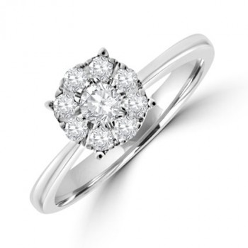 9ct White Gold Diamond Solitaire Illusion Ring