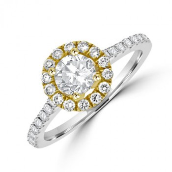 18ct White Gold Solitaire Diamond Yellow Halo Ring