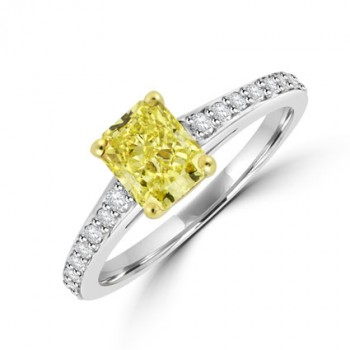 Platinum Yellow Diamond Solitaire Ring with set shoulders