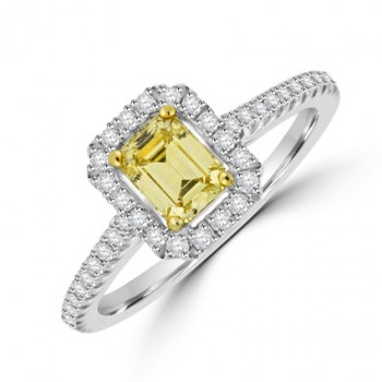 Platinum Emerald cut Yellow diamond halo ring