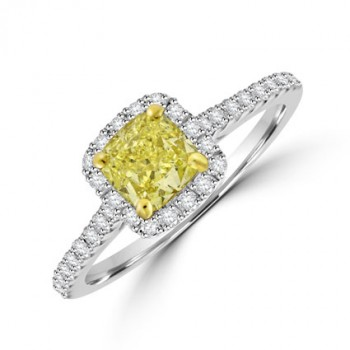 18ct White Gold Yellow Diamond Halo Ring