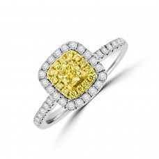18ct White Gold Cushion cut Yellow Diamond Double Halo Ring