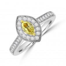18ct White Gold Yellow Diamond Marquise Halo Ring