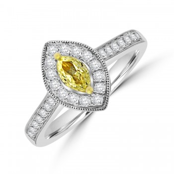18ct White Gold Yellow Diamond Marquise Halo Ring