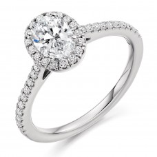 Platinum Oval Solitaire .50ct Diamond Halo Ring