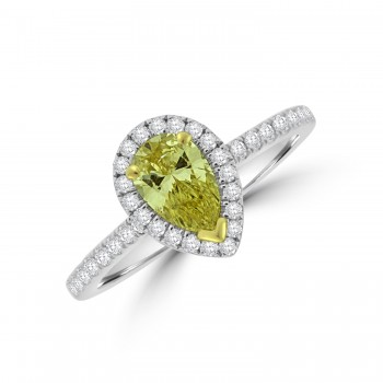 Platinum Pear Yellow Diamond Halo Ring