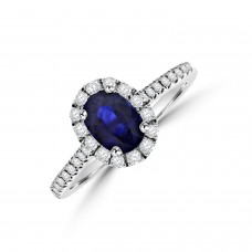 18ct White Gold Sapphire Diamond Halo Ring