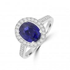 Platinum 2.18ct Sapphire & Oval Diamond Halo Ring