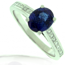 Platinum Sapphire Solitaire Ring