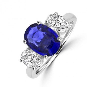 Platinum Three-stone Oval Sapphire & Diamond Ring