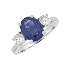 Platinum 3-Stone Oval Sapphire & Diamond Ring