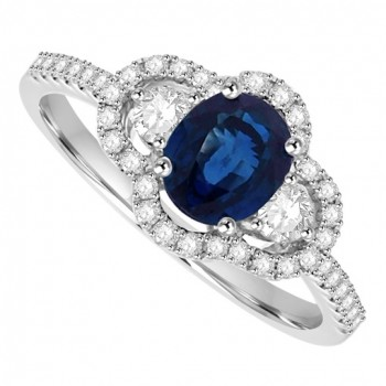Platinum Three-stone Sapphire & Diamond Halo Ring