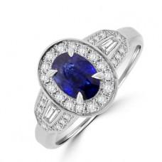 Platinum Sapphire & Baguette Diamond Halo Ring