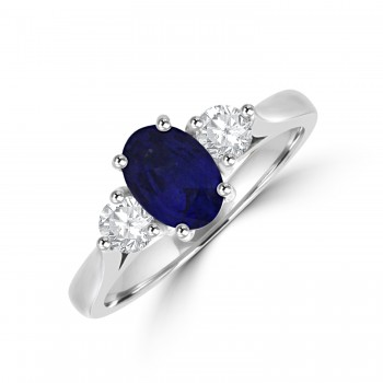 Platinum Three-stone Sapphire & Diamond Ring