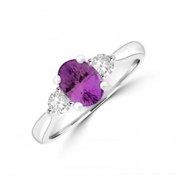 Platinum Pink Sapphire & Diamond Three-stone Ring