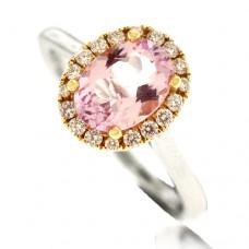 Platinum & 18ct Rose Gold Pink Morganite Diamond Halo Ring