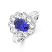 Platinum Oval 1.59ct Sapphire and Diamond Cluster Ring