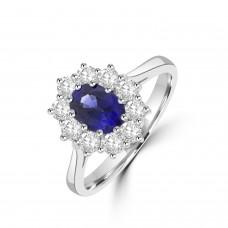 Platinum .95ct Sapphire & Diamond Oval Cluster Ring