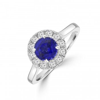 Platinum Sapphire Diamond Halo Ring
