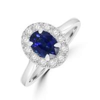Platinum .90ct Sapphire Diamond Oval Halo Ring