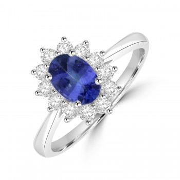 Platinum .90ct Sapphire and Diamond Oval Cluster Ring