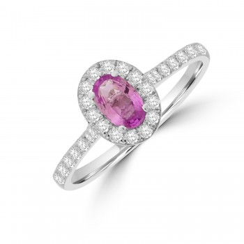 Platinum Pink Sapphire and Diamond Oval Halo Ring