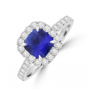 Platinum Cushion 1.11ct Sapphire Diamond Halo Ring